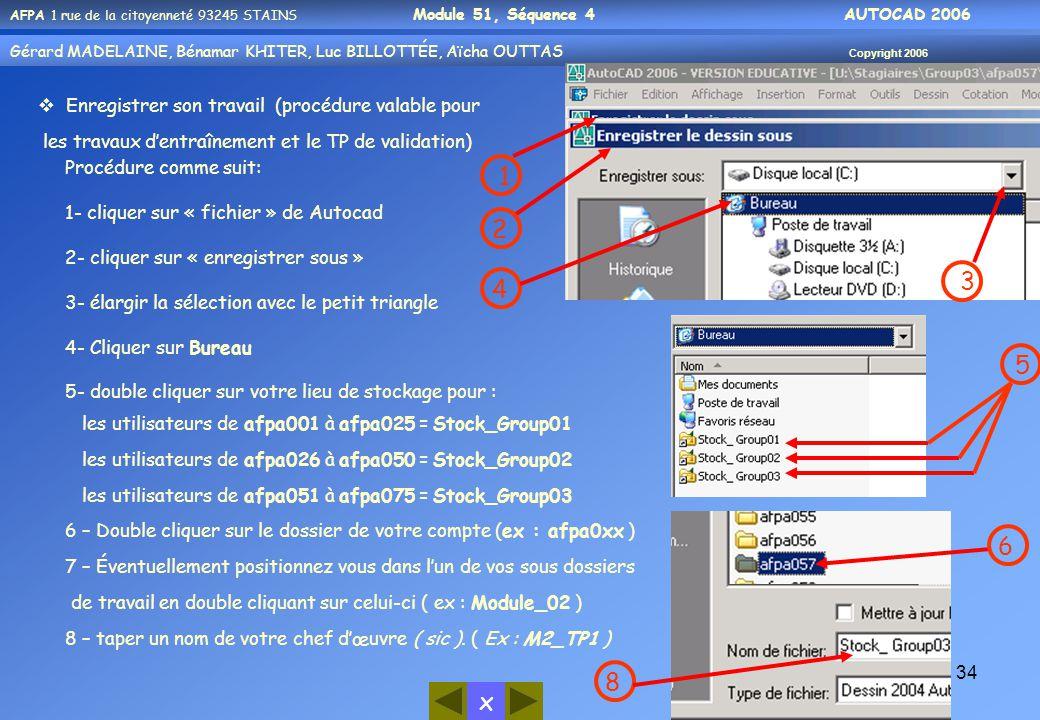 x AFPA 1 rue de la citoyenneté 93245 STAINS Module 51, Séquence 4 AUTOCAD 2006 Gérard MADELAINE, Bénamar KHITER, Luc BILLOTTÉE, Aïcha OUTTAS Copyright 2006 34  Enregistrer son travail (procédure valable pour les travaux d'entraînement et le TP de validation) Procédure comme suit: 1- cliquer sur « fichier » de Autocad 2- cliquer sur « enregistrer sous » 3- élargir la sélection avec le petit triangle 4- Cliquer sur Bureau 5- double cliquer sur votre lieu de stockage pour : les utilisateurs de afpa001 à afpa025 = Stock_Group01 les utilisateurs de afpa026 à afpa050 = Stock_Group02 les utilisateurs de afpa051 à afpa075 = Stock_Group03 6 – Double cliquer sur le dossier de votre compte (ex : afpa0xx ) 7 – Éventuellement positionnez vous dans l'un de vos sous dossiers de travail en double cliquant sur celui-ci ( ex : Module_02 ) 8 – taper un nom de votre chef d'œuvre ( sic ).