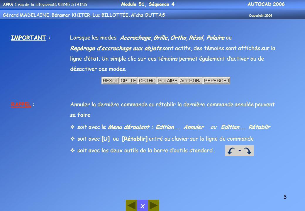 x AFPA 1 rue de la citoyenneté 93245 STAINS Module 51, Séquence 4 AUTOCAD 2006 Gérard MADELAINE, Bénamar KHITER, Luc BILLOTTÉE, Aïcha OUTTAS Copyright 2006 5 IMPORTANT :Lorsque les modes Accrochage, Grille, Ortho, Résol, Polaire ou Repérage d'accrochage aux objets sont actifs, des témoins sont affichés sur la ligne d'état.