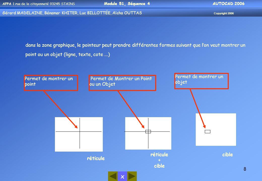 x AFPA 1 rue de la citoyenneté 93245 STAINS Module 51, Séquence 4 AUTOCAD 2006 Gérard MADELAINE, Bénamar KHITER, Luc BILLOTTÉE, Aïcha OUTTAS Copyright 2006 8 dans la zone graphique, le pointeur peut prendre différentes formes suivant que l'on veut montrer un point ou un objet (ligne, texte, cote...) Permet de montrer un point réticule Permet de Montrer un Point ou un Objet réticule + cible Permet de montrer un objet cible