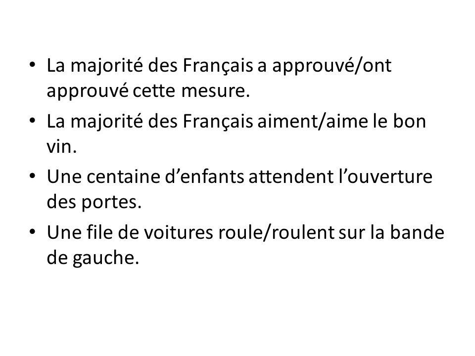 La majorité des Français a approuvé/ont approuvé cette mesure. La majorité des Français aiment/aime le bon vin. Une centaine d'enfants attendent l'ouv