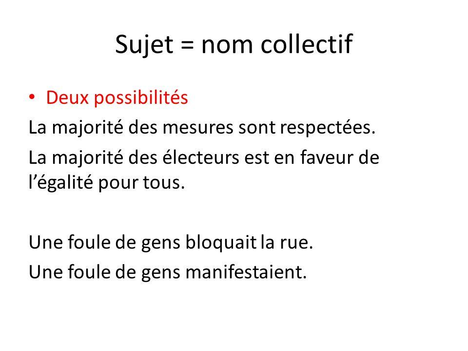 Sujet = nom collectif Deux possibilités La majorité des mesures sont respectées. La majorité des électeurs est en faveur de l'égalité pour tous. Une f