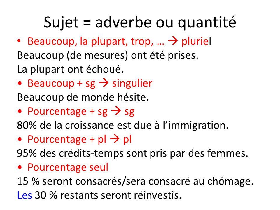Sujet = adverbe ou quantité Beaucoup, la plupart, trop, …  pluriel Beaucoup (de mesures) ont été prises. La plupart ont échoué. Beaucoup + sg  singu