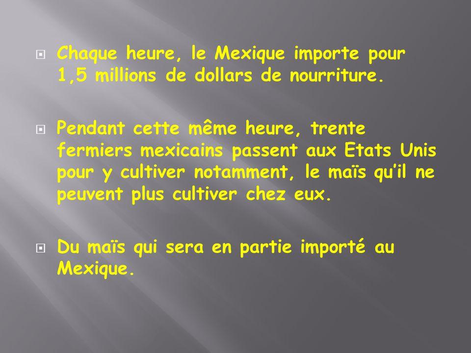  Chaque heure, le Mexique importe pour 1,5 millions de dollars de nourriture.  Pendant cette même heure, trente fermiers mexicains passent aux Etats