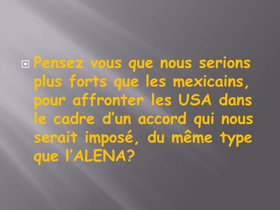  Pensez vous que nous serions plus forts que les mexicains, pour affronter les USA dans le cadre d'un accord qui nous serait imposé, du même type que l'ALENA?