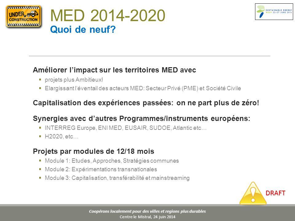 Coopérons localement pour des villes et regions plus durables Centre le Mistral, 24 juin 2014 Améliorer l'impact sur les territoires MED avec  projets plus Ambitieux.