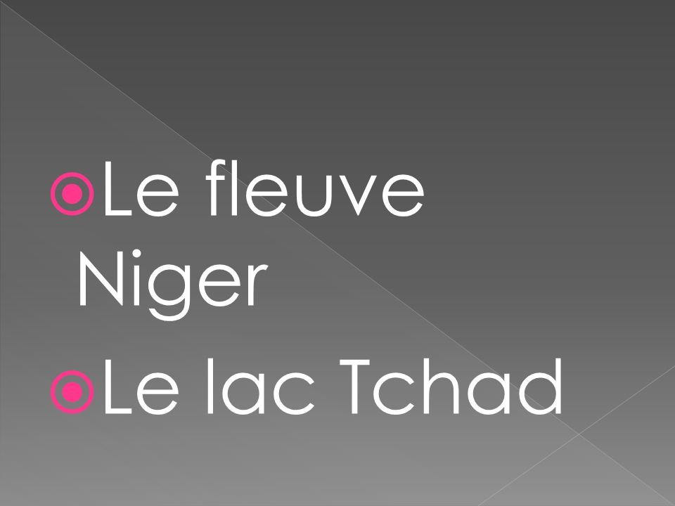  Le fleuve Niger  Le lac Tchad