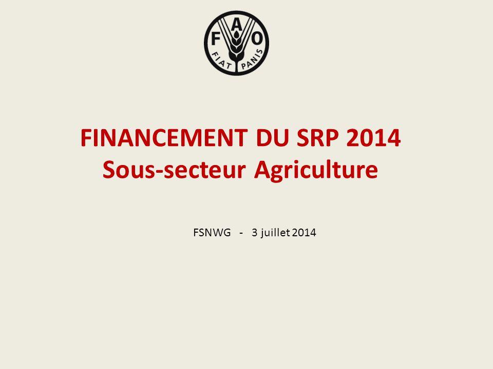 Organisation des Nations Unies pour l'Alimentation et l'Agriculture (FAO) FINANCEMENT DU SRP 2014 Sous-secteur Agriculture FSNWG - 3 juillet 2014