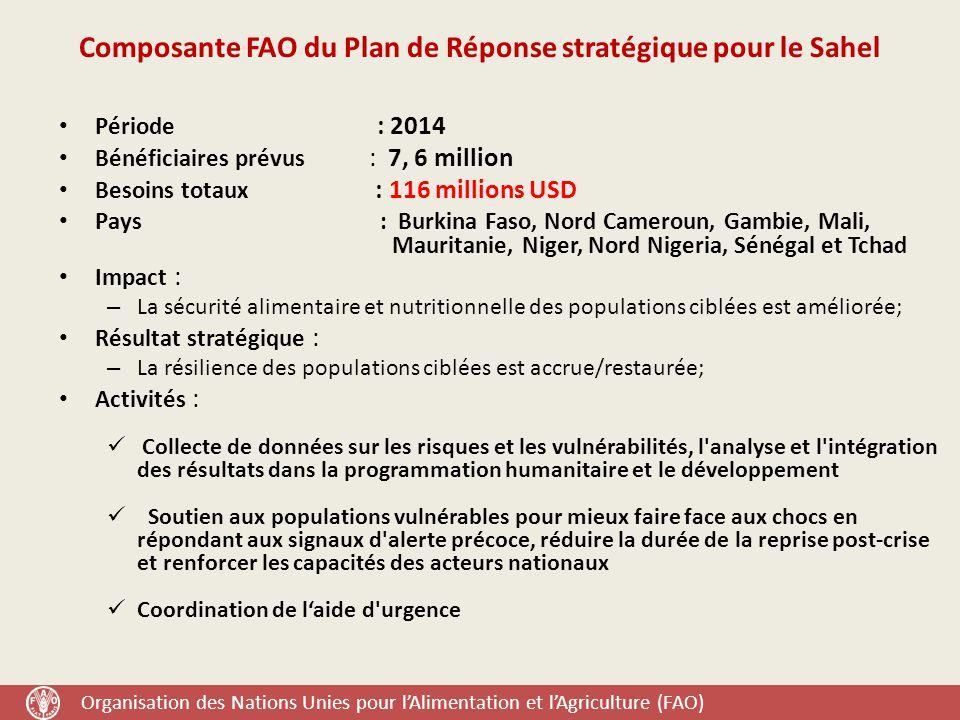 Organisation des Nations Unies pour l'Alimentation et l'Agriculture (FAO) Composante FAO du Plan de Réponse stratégique pour le Sahel Période : 2014 Bénéficiaires prévus : 7, 6 million Besoins totaux : 116 millions USD Pays : Burkina Faso, Nord Cameroun, Gambie, Mali, Mauritanie, Niger, Nord Nigeria, Sénégal et Tchad Impact : – La sécurité alimentaire et nutritionnelle des populations ciblées est améliorée; Résultat stratégique : – La résilience des populations ciblées est accrue/restaurée; Activités : Collecte de données sur les risques et les vulnérabilités, l analyse et l intégration des résultats dans la programmation humanitaire et le développement Soutien aux populations vulnérables pour mieux faire face aux chocs en répondant aux signaux d alerte précoce, réduire la durée de la reprise post-crise et renforcer les capacités des acteurs nationaux Coordination de l'aide d urgence