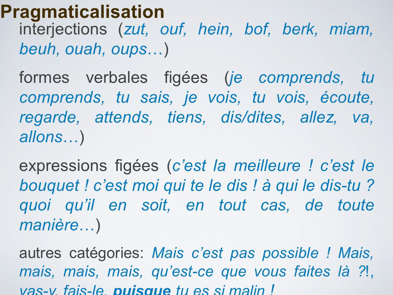 Pragmaticalisation interjections (zut, ouf, hein, bof, berk, miam, beuh, ouah, oups…) formes verbales figées (je comprends, tu comprends, tu sais, je vois, tu vois, écoute, regarde, attends, tiens, dis/dites, allez, va, allons…) expressions figées (c'est la meilleure .