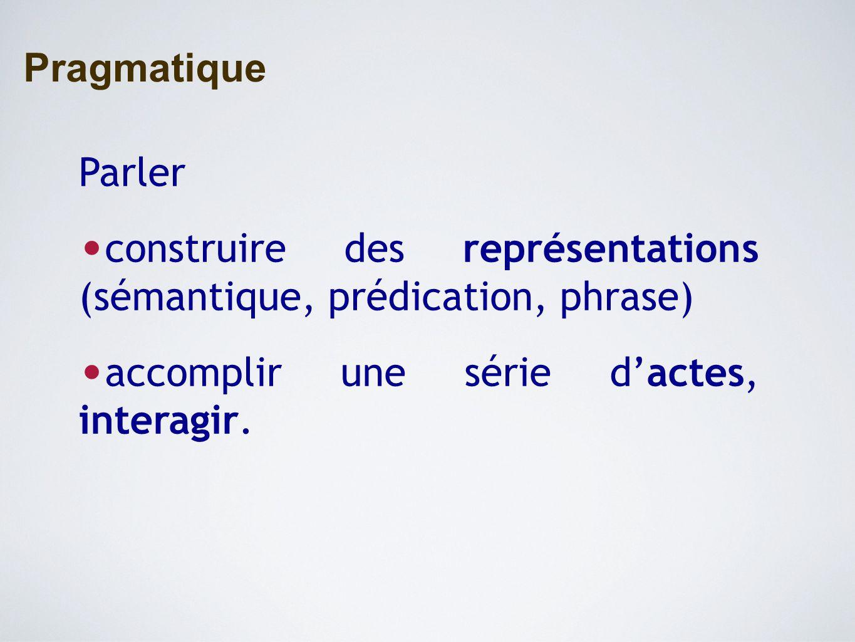 Pragmatique Parler construire des représentations (sémantique, prédication, phrase) accomplir une série d'actes, interagir.