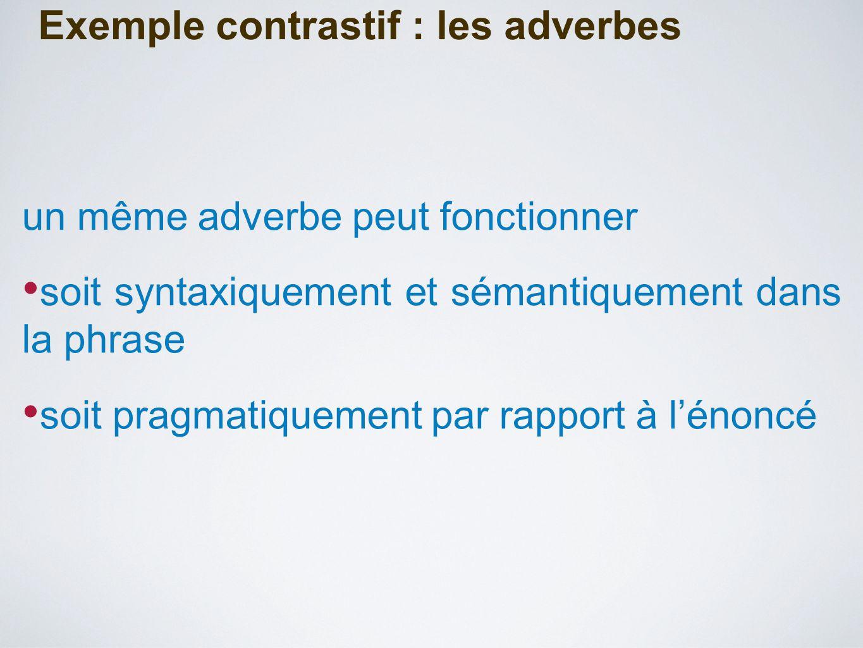 Exemple contrastif : les adverbes un même adverbe peut fonctionner soit syntaxiquement et sémantiquement dans la phrase soit pragmatiquement par rapport à l'énoncé