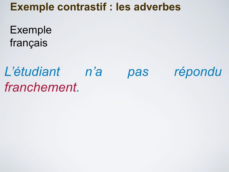 Exemple contrastif : les adverbes L'étudiant n'a pas répondu franchement. Exemple français