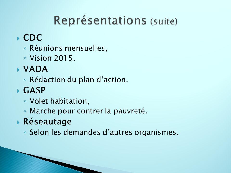  CDC ◦ Réunions mensuelles, ◦ Vision 2015.  VADA ◦ Rédaction du plan d'action.