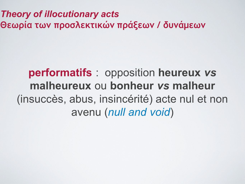 performatifs : opposition heureux vs malheureux ou bonheur vs malheur (insuccès, abus, insincérité) acte nul et non avenu (null and void) Theory of il