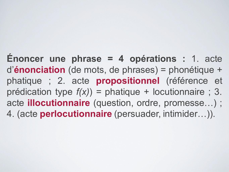 Énoncer une phrase = 4 opérations : 1. acte d'énonciation (de mots, de phrases) = phonétique + phatique ; 2. acte propositionnel (référence et prédica