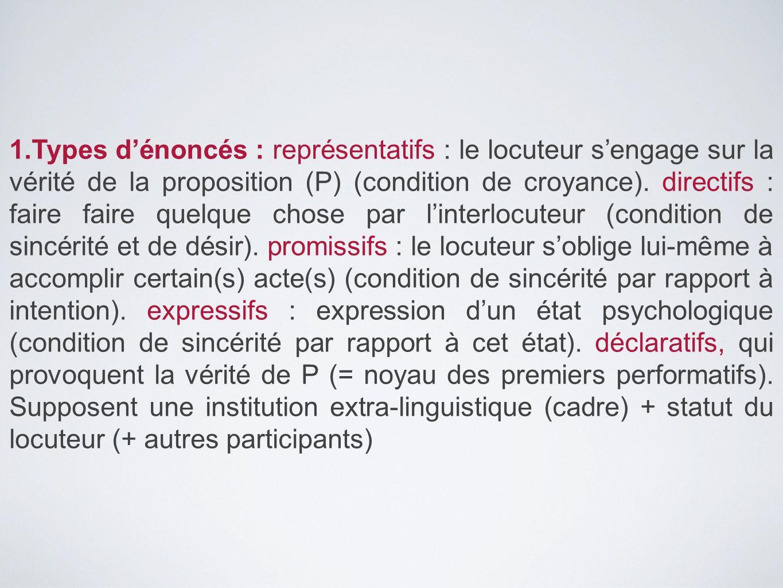 1.Types d'énoncés : représentatifs : le locuteur s'engage sur la vérité de la proposition (P) (condition de croyance). directifs : faire faire quelque