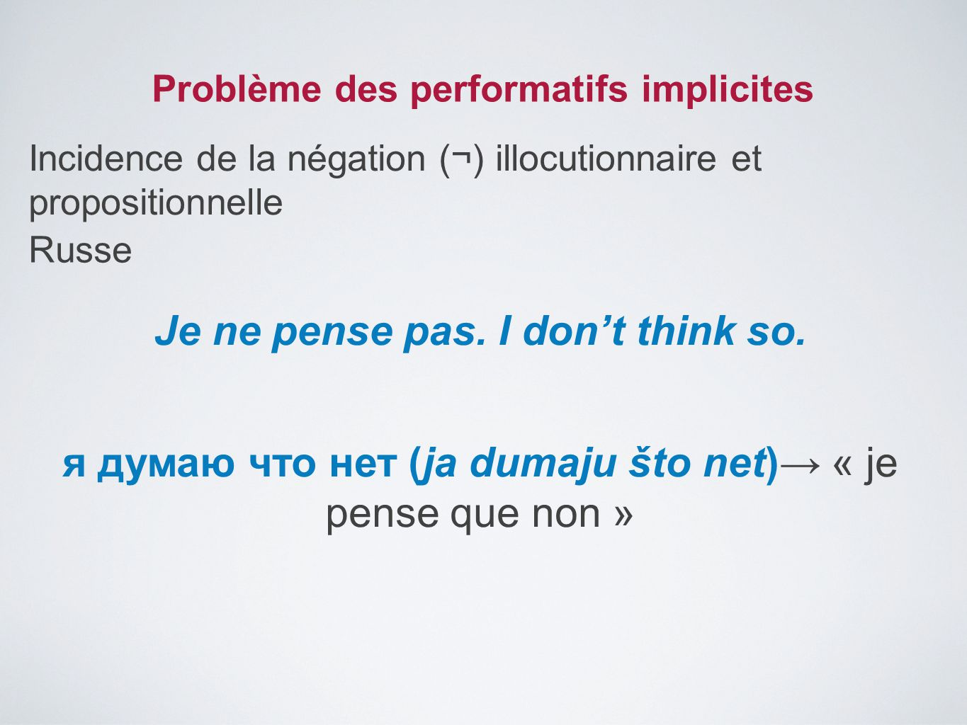 Problème des performatifs implicites Incidence de la négation (¬) illocutionnaire et propositionnelle Je ne pense pas. I don't think so. я думаю что н