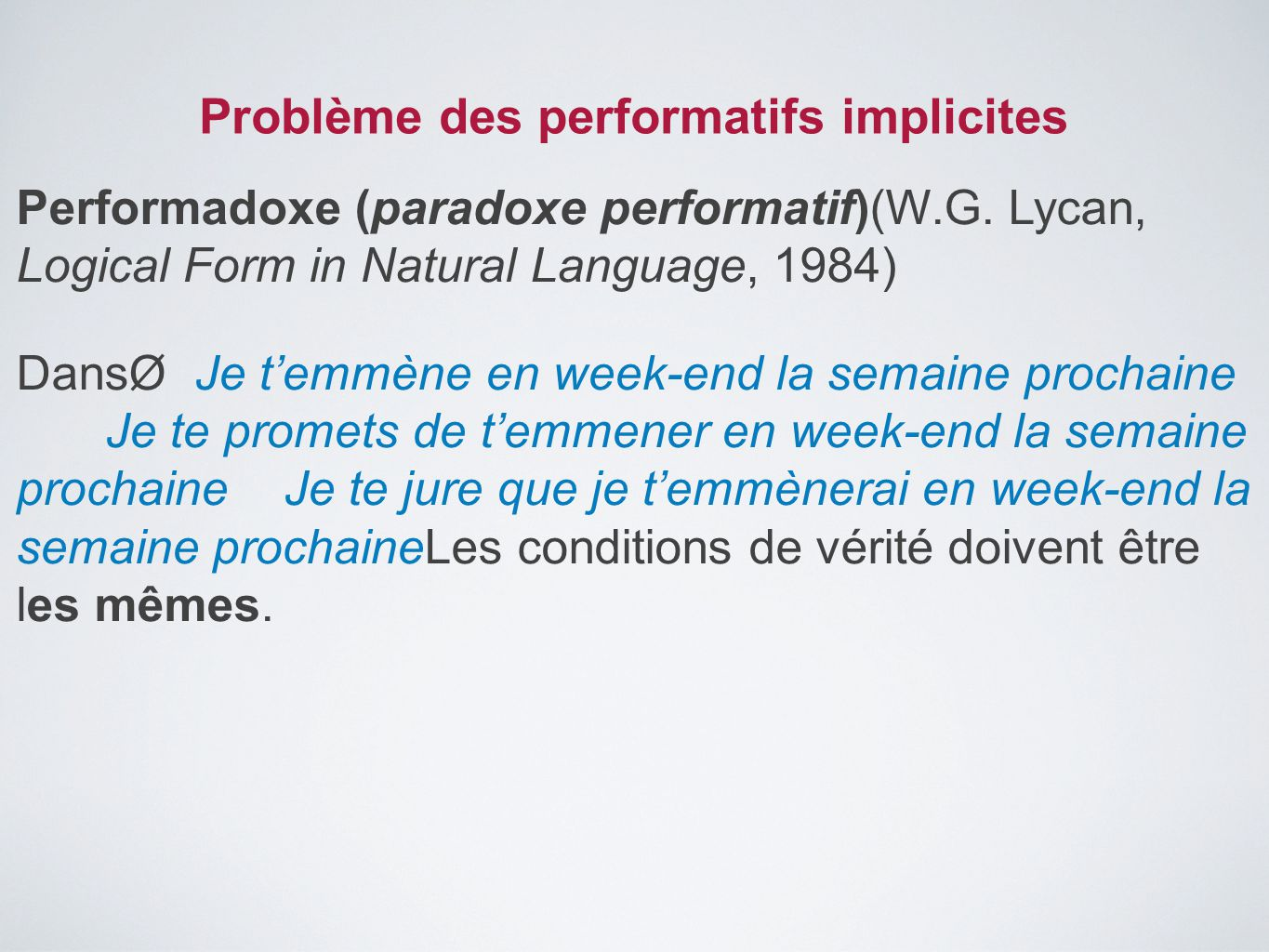 Problème des performatifs implicites Performadoxe (paradoxe performatif)(W.G. Lycan, Logical Form in Natural Language, 1984) DansØJe t'emmène en week-