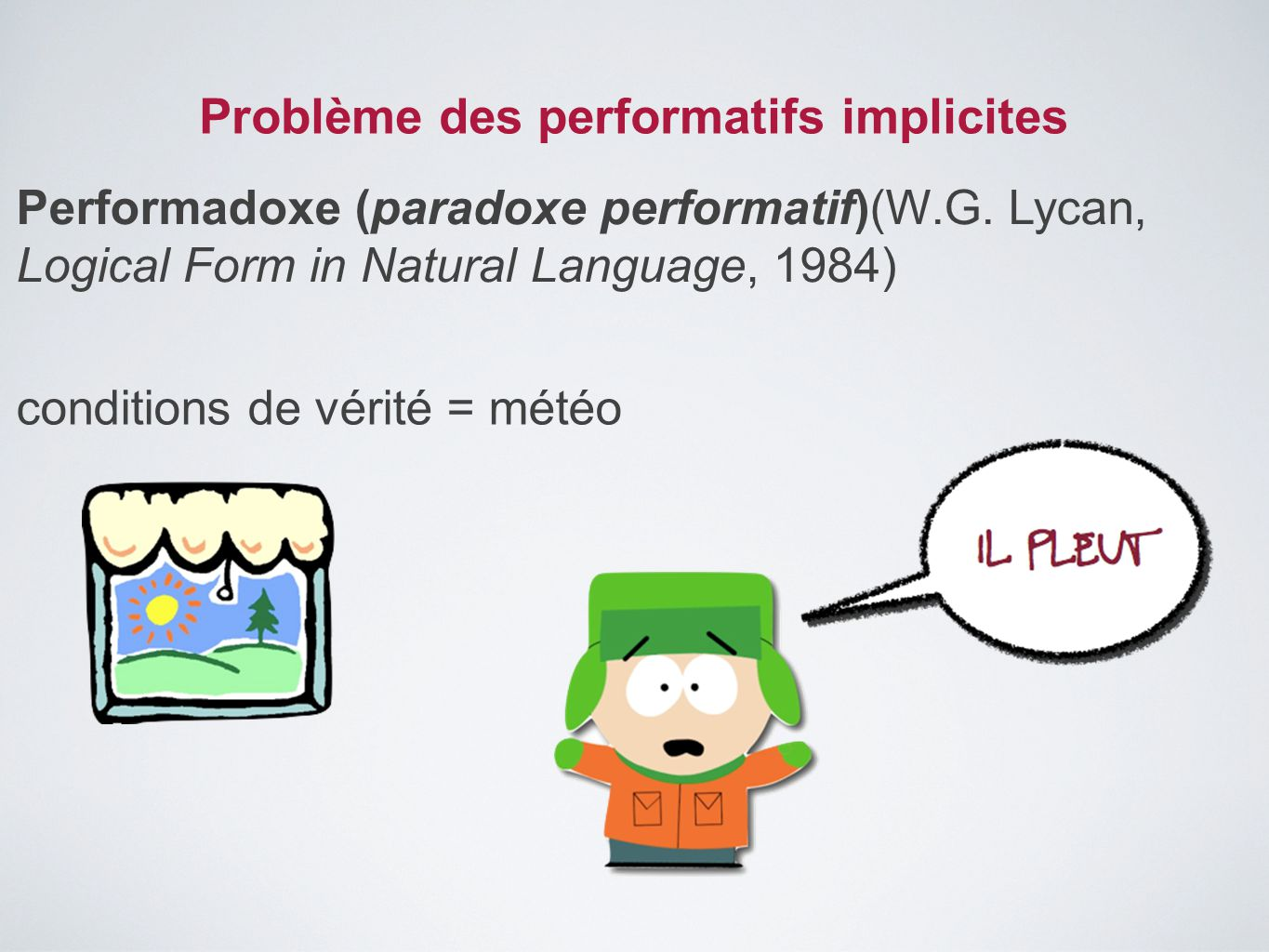 Problème des performatifs implicites Performadoxe (paradoxe performatif)(W.G. Lycan, Logical Form in Natural Language, 1984) conditions de vérité = mé
