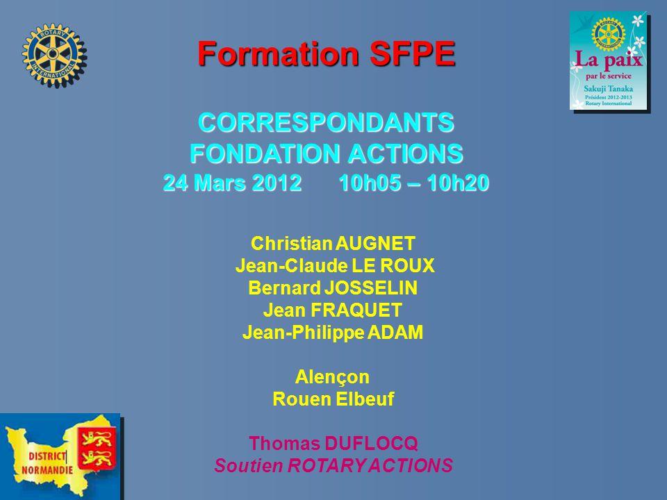 Formation SFPE CORRESPONDANTS FONDATION ACTIONS 24 Mars 2012 10h05 – 10h20 Etat de lieux des Actions Projets Actions Communication Fondation Collecte des Dons