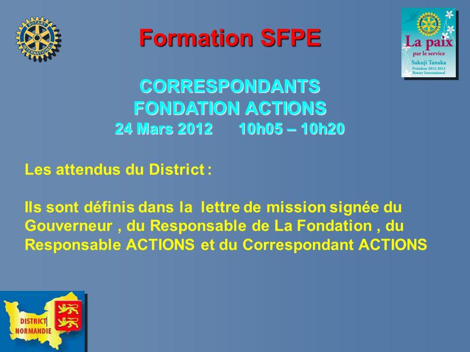 Formation SFPE CORRESPONDANTS FONDATION ACTIONS 24 Mars 2012 10h05 – 10h20 Les attendus du District : Ils sont définis dans la lettre de mission signée du Gouverneur, du Responsable de La Fondation, du Responsable ACTIONS et du Correspondant ACTIONS