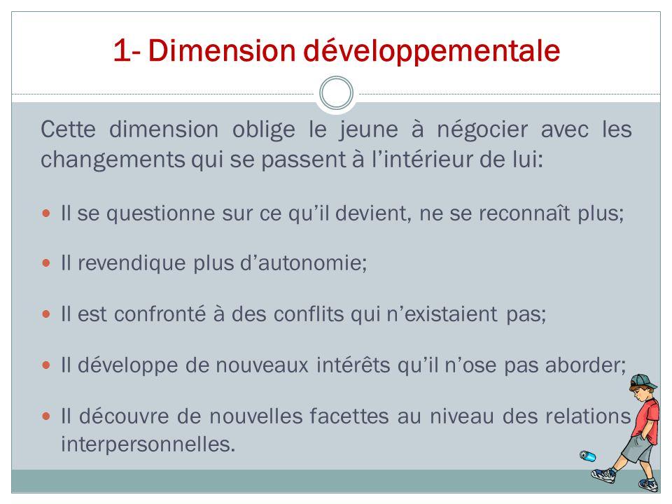 1- Dimension développementale Cette dimension oblige le jeune à négocier avec les changements qui se passent à l'intérieur de lui: Il se questionne su