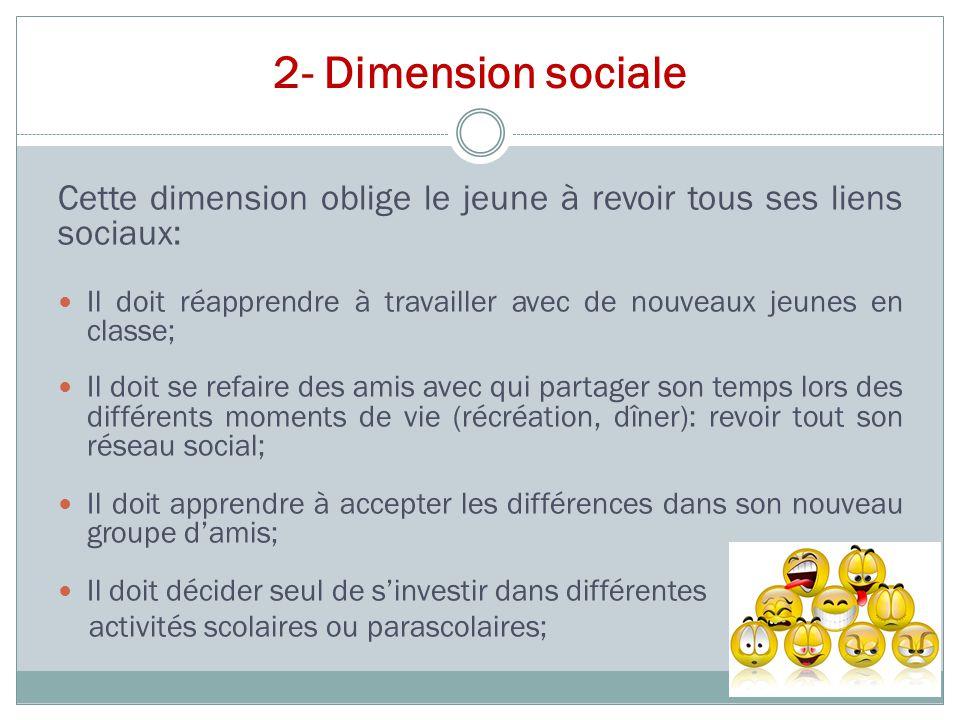 2- Dimension sociale Cette dimension oblige le jeune à revoir tous ses liens sociaux: Il doit réapprendre à travailler avec de nouveaux jeunes en clas