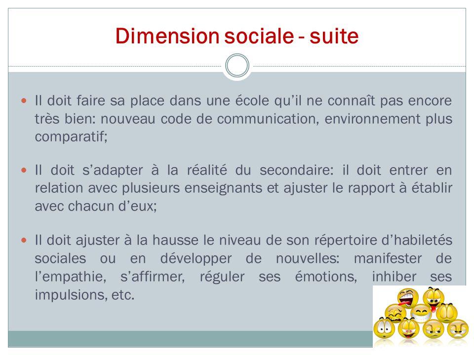 Dimension sociale - suite Il doit faire sa place dans une école qu'il ne connaît pas encore très bien: nouveau code de communication, environnement pl