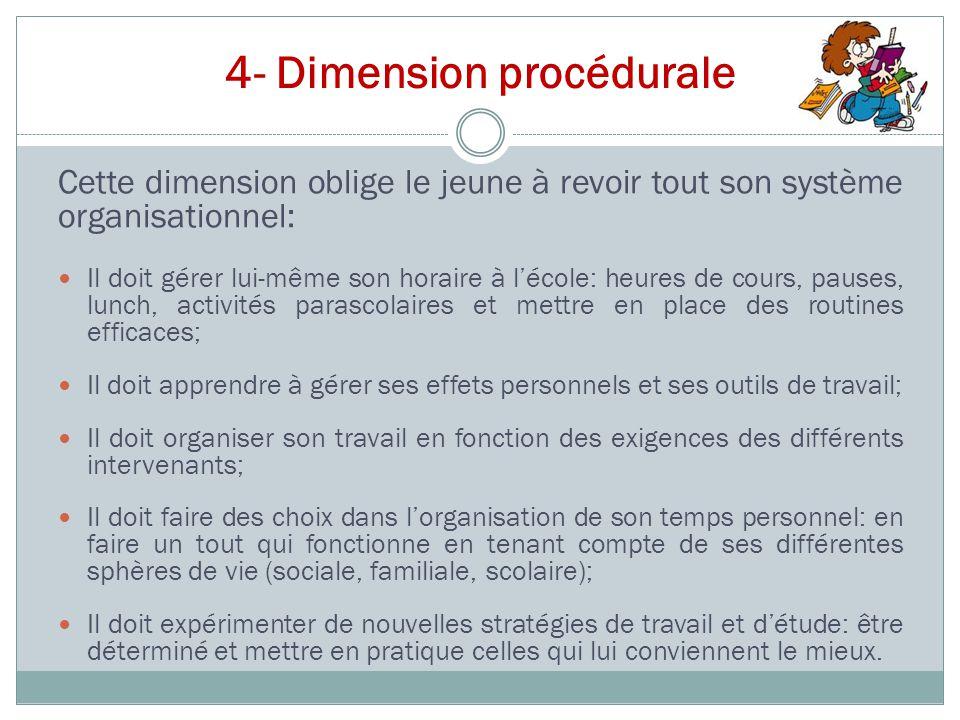 4- Dimension procédurale Cette dimension oblige le jeune à revoir tout son système organisationnel: Il doit gérer lui-même son horaire à l'école: heur
