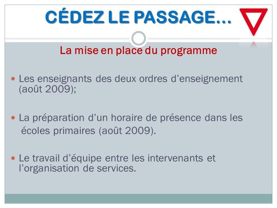 CÉDEZ LE PASSAGE… CÉDEZ LE PASSAGE… La mise en place du programme Les enseignants des deux ordres d'enseignement (août 2009); La préparation d'un hora