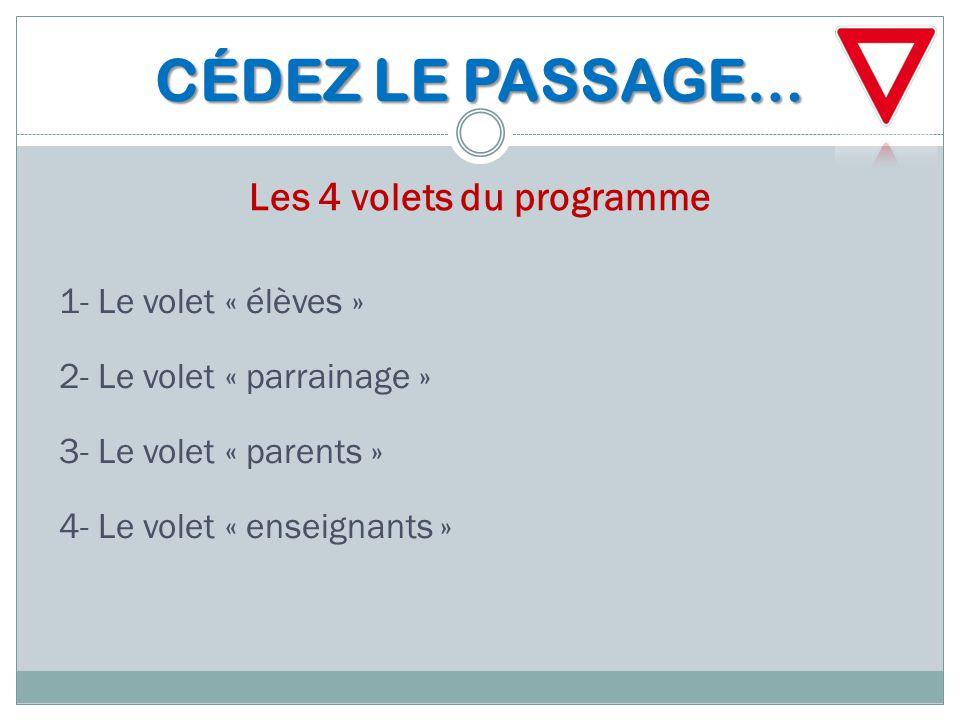 CÉDEZ LE PASSAGE… CÉDEZ LE PASSAGE… Les 4 volets du programme 1- Le volet « élèves » 2- Le volet « parrainage » 3- Le volet « parents » 4- Le volet «