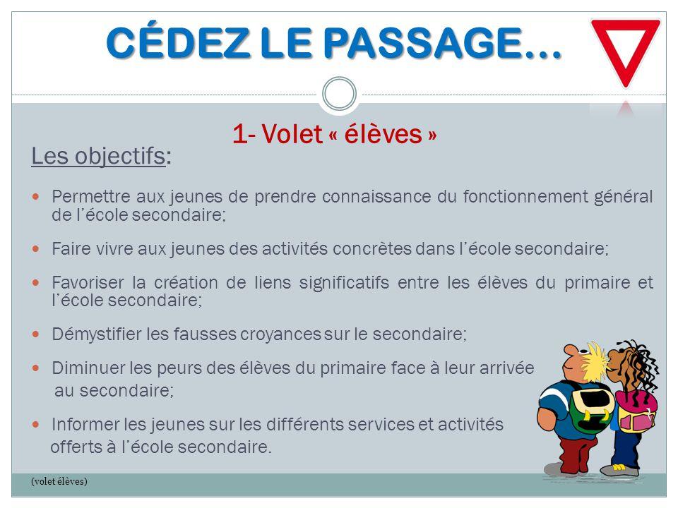CÉDEZ LE PASSAGE… CÉDEZ LE PASSAGE… 1- Volet « élèves » Les objectifs: Permettre aux jeunes de prendre connaissance du fonctionnement général de l'éco