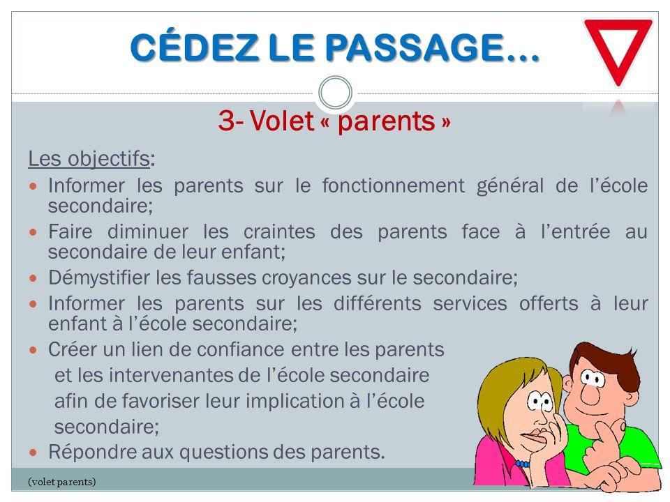 CÉDEZ LE PASSAGE… CÉDEZ LE PASSAGE… 3- Volet « parents » Les objectifs: Informer les parents sur le fonctionnement général de l'école secondaire; Fair