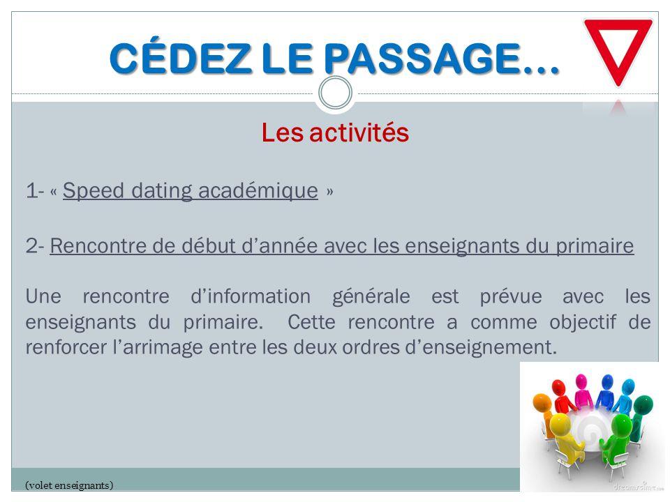 CÉDEZ LE PASSAGE… CÉDEZ LE PASSAGE… Les activités 1- « Speed dating académique » 2- Rencontre de début d'année avec les enseignants du primaire Une re