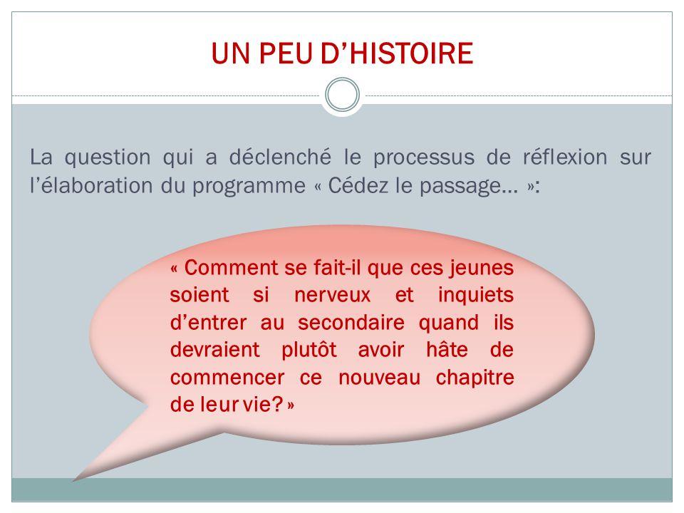 UN PEU D'HISTOIRE La question qui a déclenché le processus de réflexion sur l'élaboration du programme « Cédez le passage… »: « Comment se fait-il que
