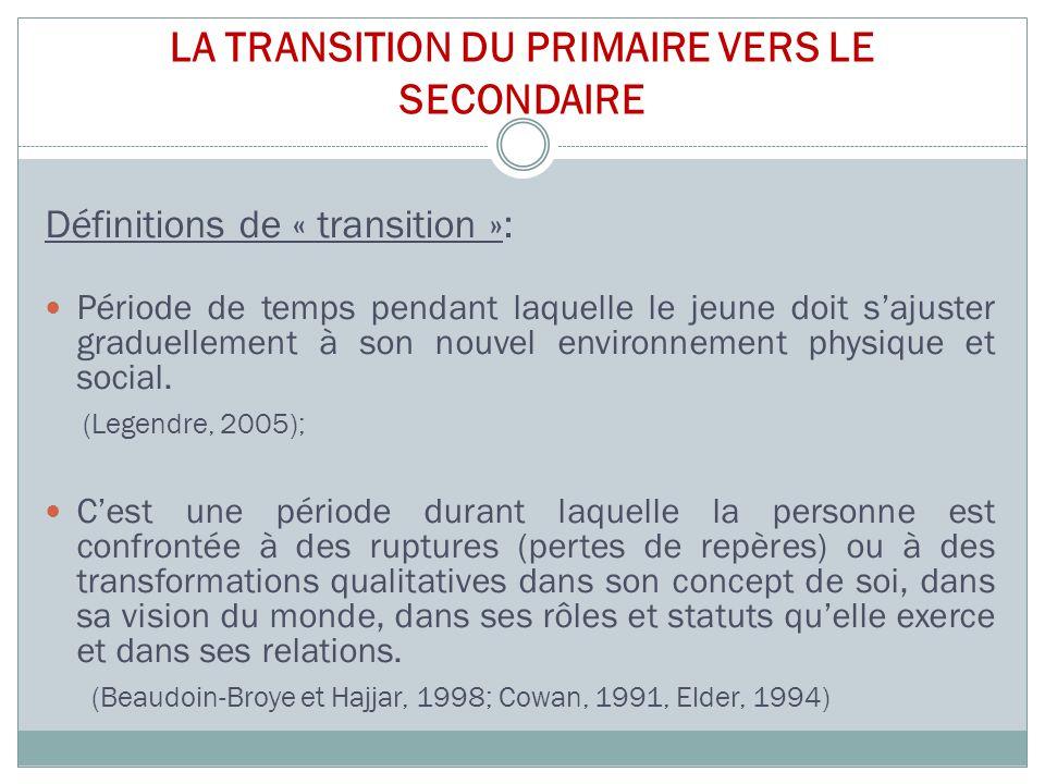 LA TRANSITION DU PRIMAIRE VERS LE SECONDAIRE Définitions de « transition »: Période de temps pendant laquelle le jeune doit s'ajuster graduellement à