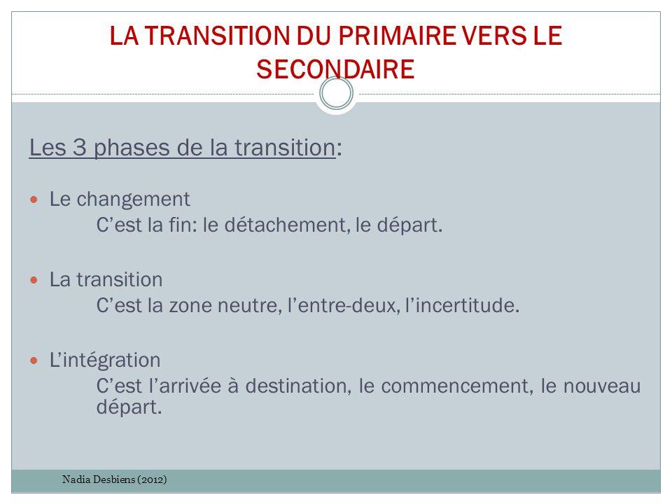 LA TRANSITION DU PRIMAIRE VERS LE SECONDAIRE Les 3 phases de la transition: Le changement C'est la fin: le détachement, le départ. La transition C'est