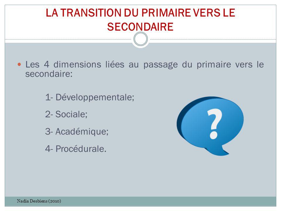 LA TRANSITION DU PRIMAIRE VERS LE SECONDAIRE Les 4 dimensions liées au passage du primaire vers le secondaire: 1- Développementale; 2- Sociale; 3- Aca