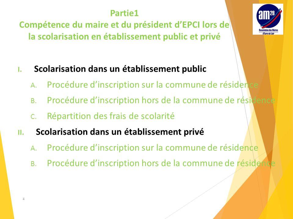 Partie1 Compétence du maire et du président d'EPCI lors de la scolarisation en établissement public et privé I.