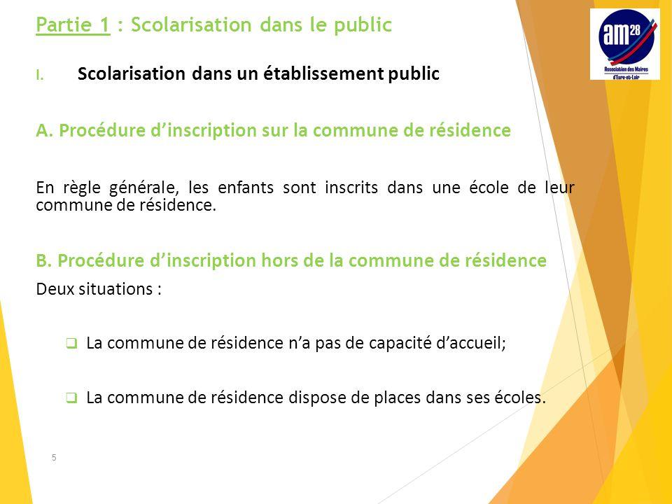 Partie 1 : Scolarisation dans le public I.Scolarisation dans un établissement public A.