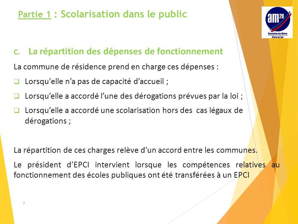 Partie 1 : Scolarisation dans le public C.