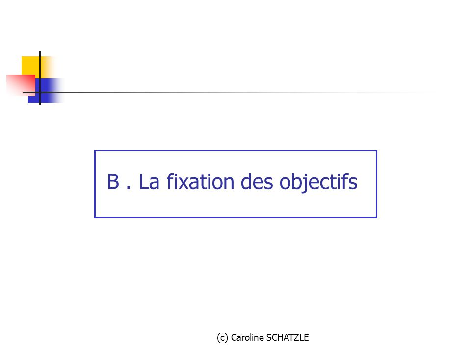 Principaux types d'objectifs 1. Volume et part de marché 2. Rentabilité 3. Qualité