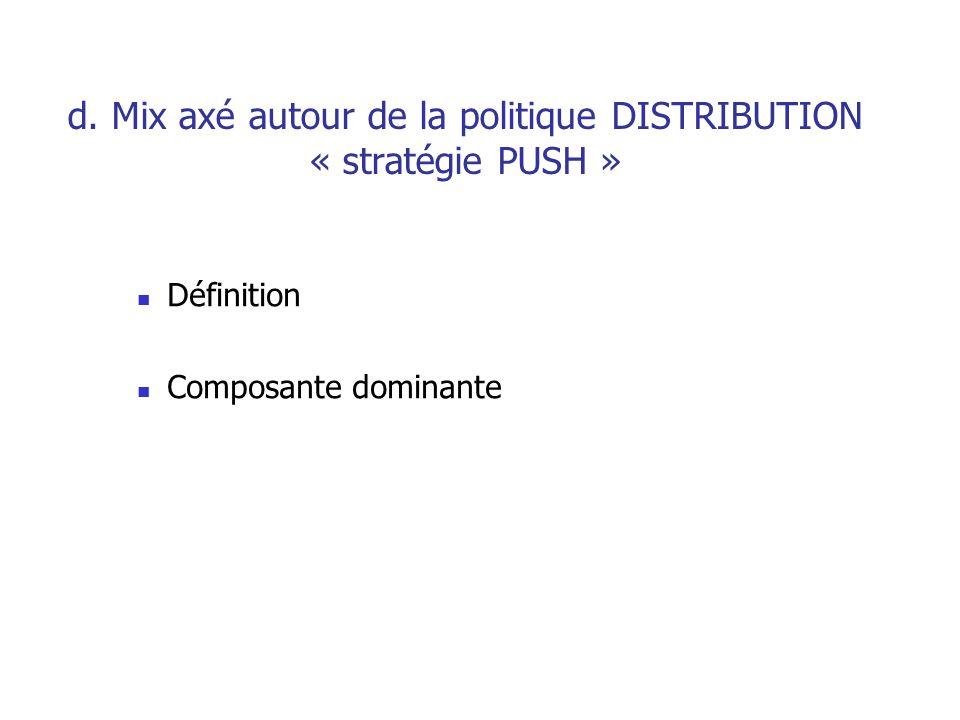 d. Mix axé autour de la politique COMMUNICATION « stratégie PULL » Définition Composante dominante