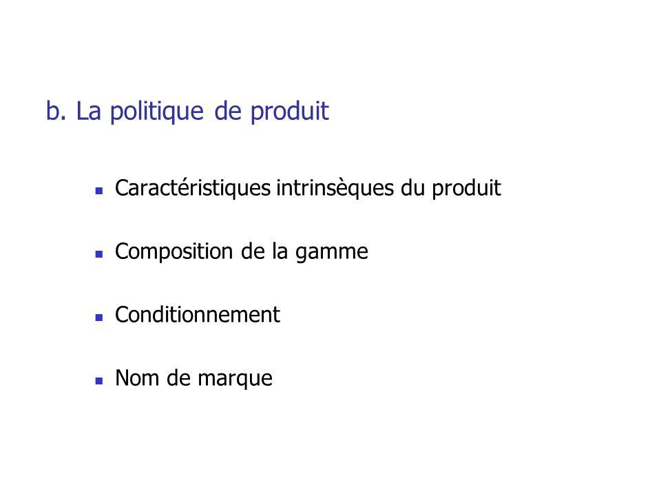 b. La politique de produit Caractéristiques intrinsèques du produit Composition de la gamme Conditionnement Nom de marque