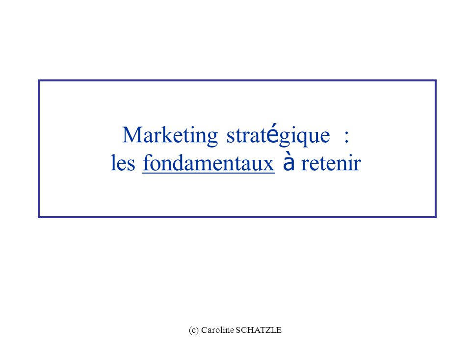 (c) Caroline SCHATZLE Marketing strat é gique : les fondamentaux à retenir