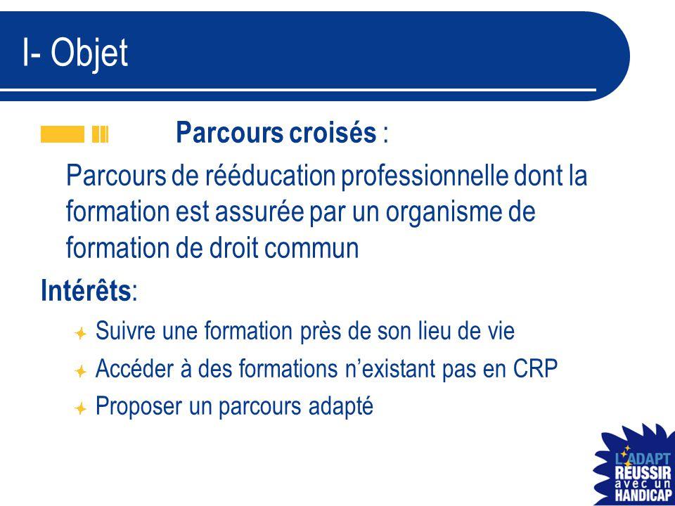 I- Objet Parcours croisés : Parcours de rééducation professionnelle dont la formation est assurée par un organisme de formation de droit commun Intérê