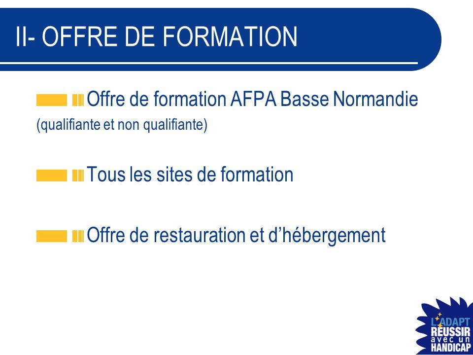 II- OFFRE DE FORMATION Offre de formation AFPA Basse Normandie (qualifiante et non qualifiante) Tous les sites de formation Offre de restauration et d