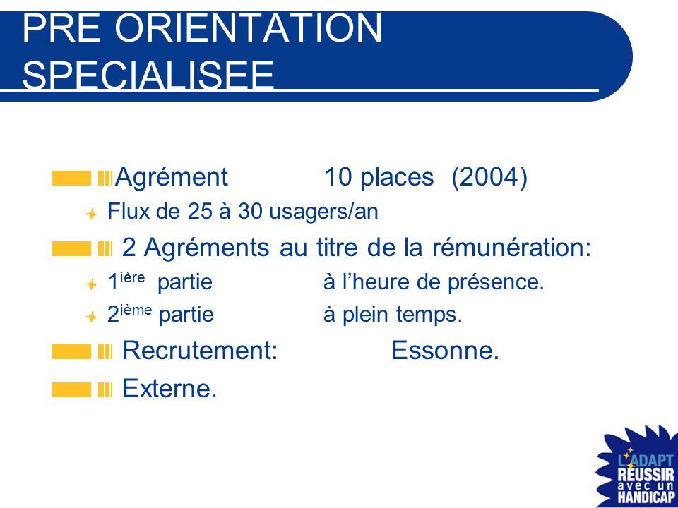 PRE ORIENTATION SPECIALISEE Agrément 10 places (2004) Flux de 25 à 30 usagers/an 2 Agréments au titre de la rémunération: 1 ière partieà l'heure de pr