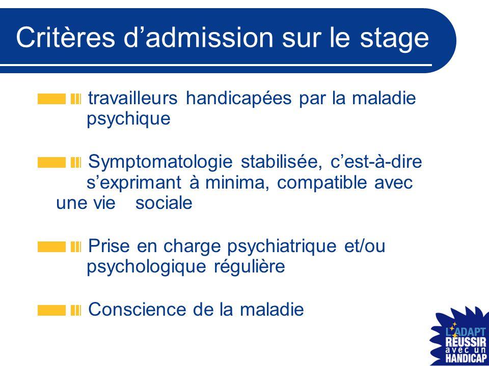 Critères d'admission sur le stage travailleurs handicapées par la maladie psychique Symptomatologie stabilisée, c'est-à-dire s'exprimant à minima, com