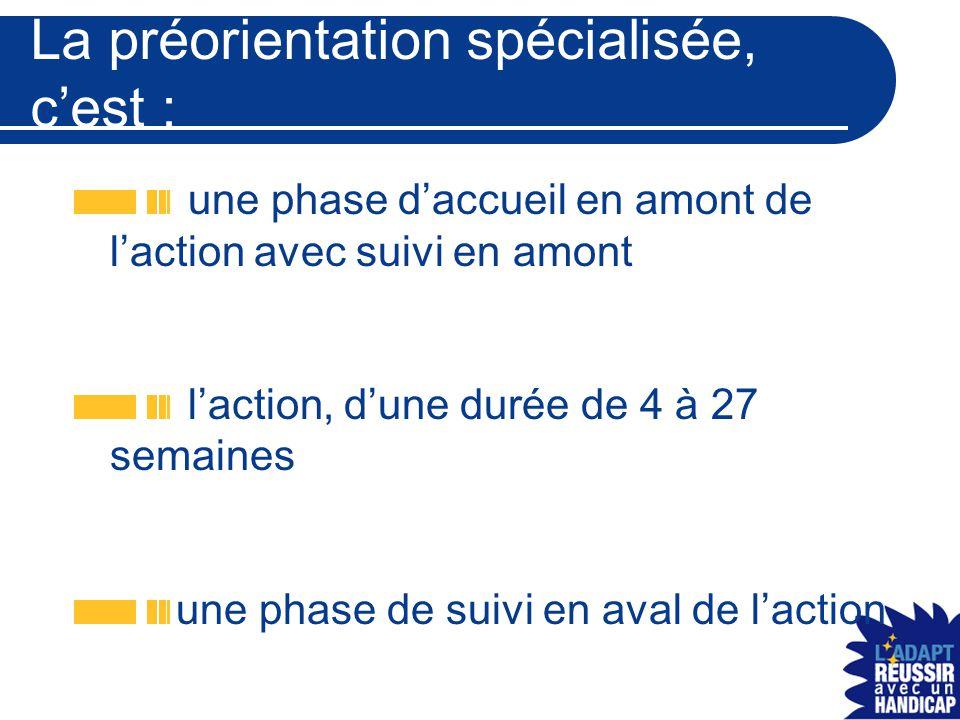 La préorientation spécialisée, c'est : une phase d'accueil en amont de l'action avec suivi en amont l'action, d'une durée de 4 à 27 semaines une phase